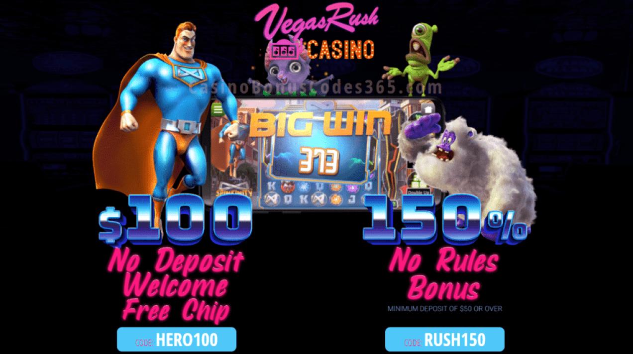 Vegas Rush Casino $100 FREE Chip plus 150% No Rules Bonus Special Deal