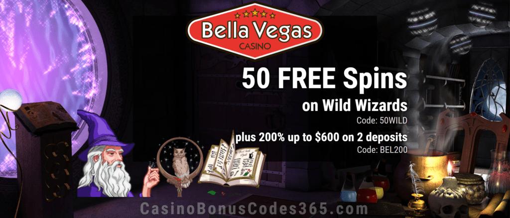 Bella Vegas Casino 50 FREE Wild Wizards Spins plus 200% Match Bonus Exclusive Offer