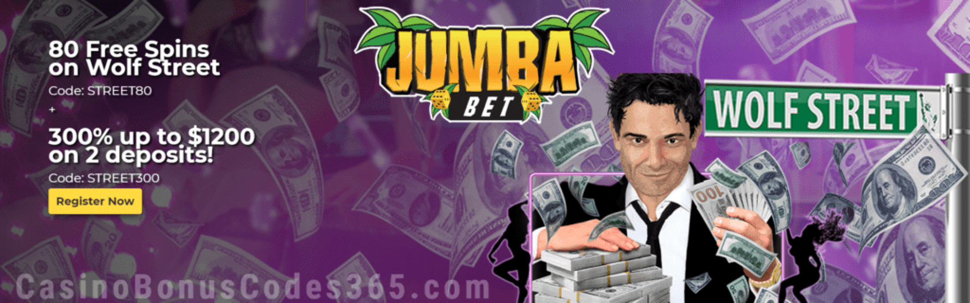Jumba Bet 80 FREE Spins on Saucify Wolf Street plus 300% Match Exclusive Deal