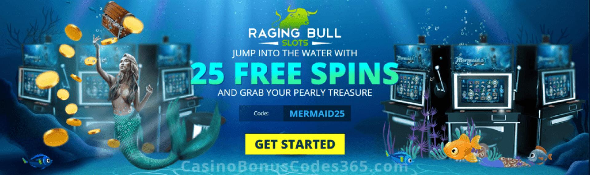Raging Bull Casino 25 FREE RTG Mermaid's Pearls Spins