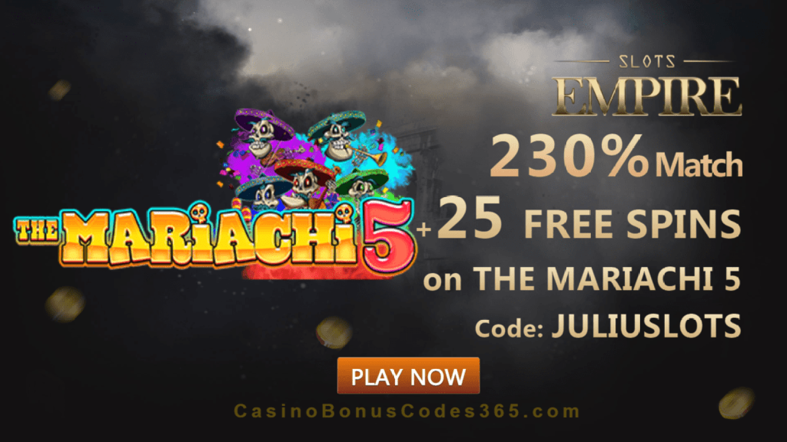 Slots Empire 230% Match Bonus plus 25 FREE Spins on RTG The Mariachi 5 New Players Promo