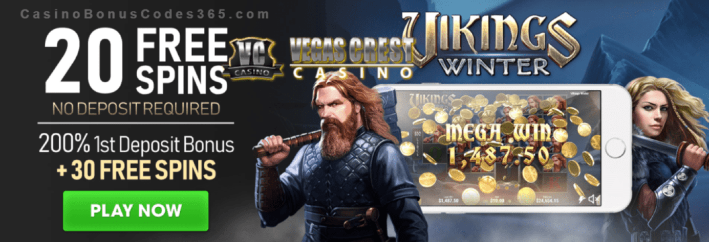 Vegas Crest Casino 50 FREE Spins on Boongo Vikings Winter plus 200% Match Bonus Monthly Offer