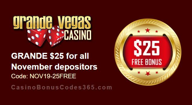 Grande Vegas Casino Extra $25 FREE Chip September Special Monthly Promo