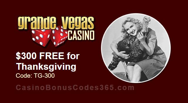 Grande Vegas Casino $300 FREE Thanksgiving Chip RTG Sweet 16