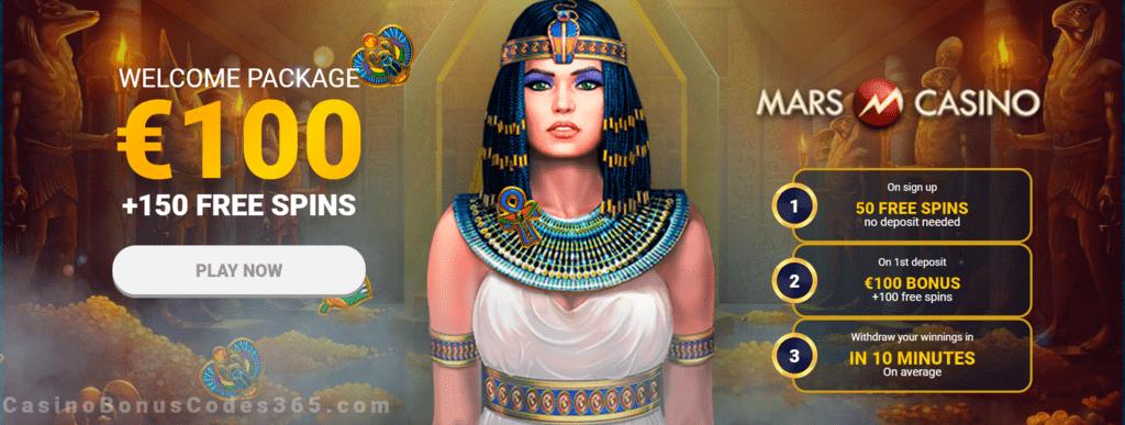 Mars Casino 50 No Deposit Free Spins And 100 Plus 100 Free Spins First Deposit Bonus Casino Bonus Codes 365