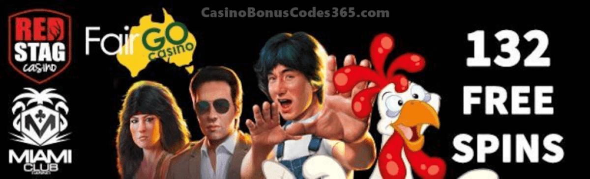 Fair Go Casino Red Stag Casino Miami Club Casino Massive 132 FREE Spins November Special Deal WGS Funky Chicken Cash Grab Vampire Vixen RTG Fire Dragon Sweet 16