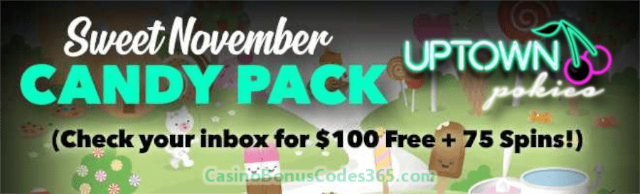 Uptown Pokies November Sweet Candy Bonus Pack