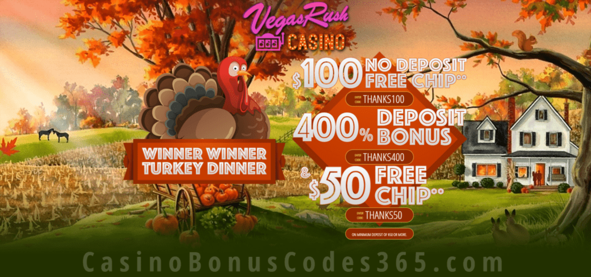Vegas Rush Casino Thanksgiving November Special Deal