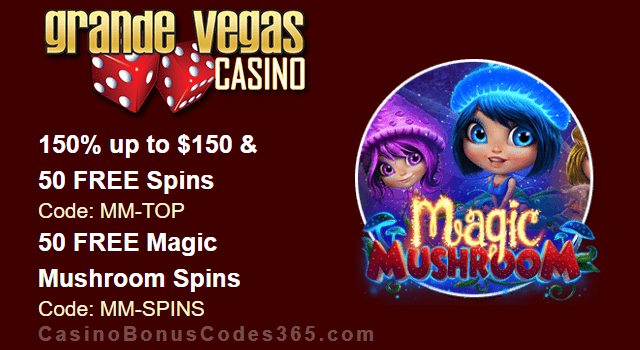 Grande Vegas Casino 150% Bonus plus 150 FREE Spins on RTG Magic Mushroom New Game Special Offer
