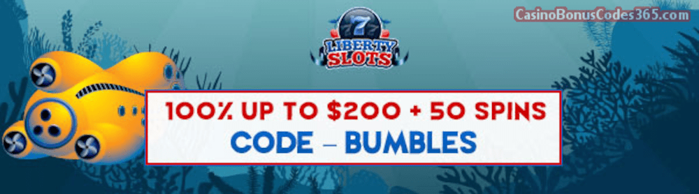 Liberty Slots 100% Match Bonus up to $200 Bonus plus 50 FREE Spins on WGS 20000 Leagues Special Welcome Offer