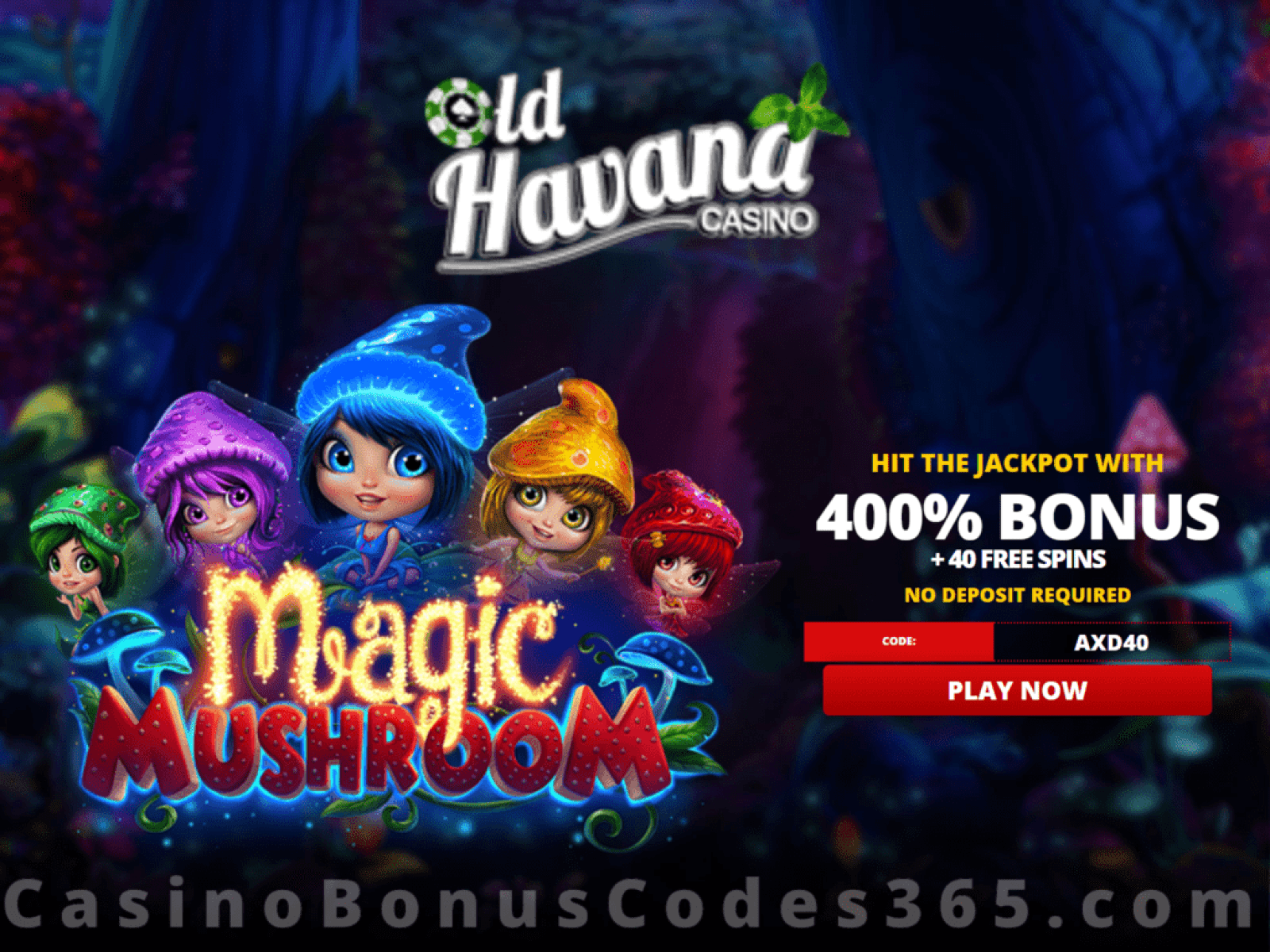 Old Havana Casino 40 FREE Spins on RTG Magic Mushroom Special No Deposit Promo
