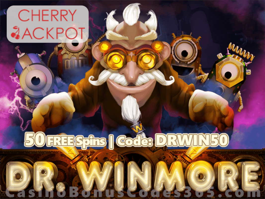 Cherry Jackpot New RTG Game 50 FREE Spins on Dr. Winmore Special Promo