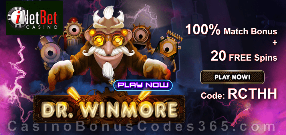iNetBet Casino 100% Match plus 20 FREE Spins on Dr. Winmore New RTG Game Special Deal
