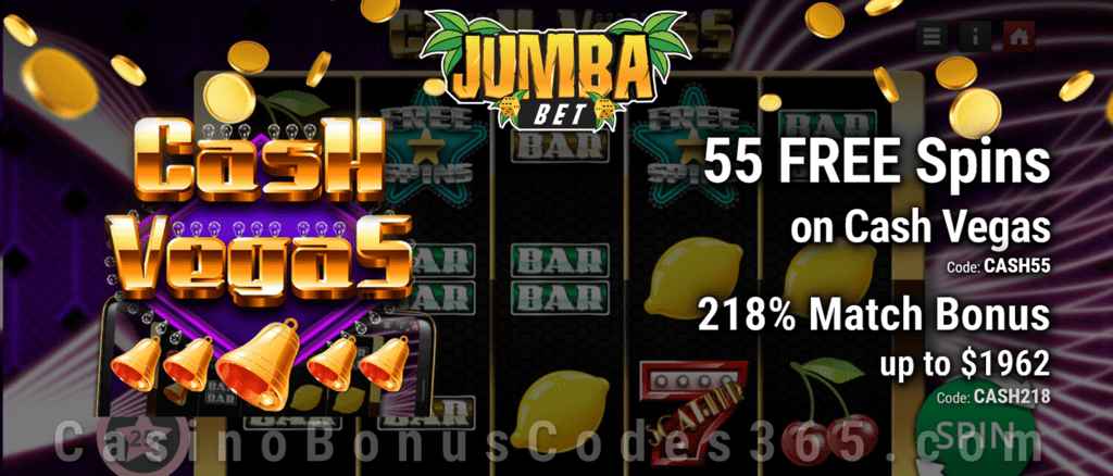 Jumba Bet 55 Free Cash Vegas Spins Plus 218 Match Bonus Welcome