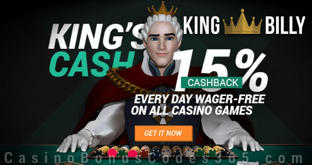 King Billy Casino King's Cash 15% Cashback