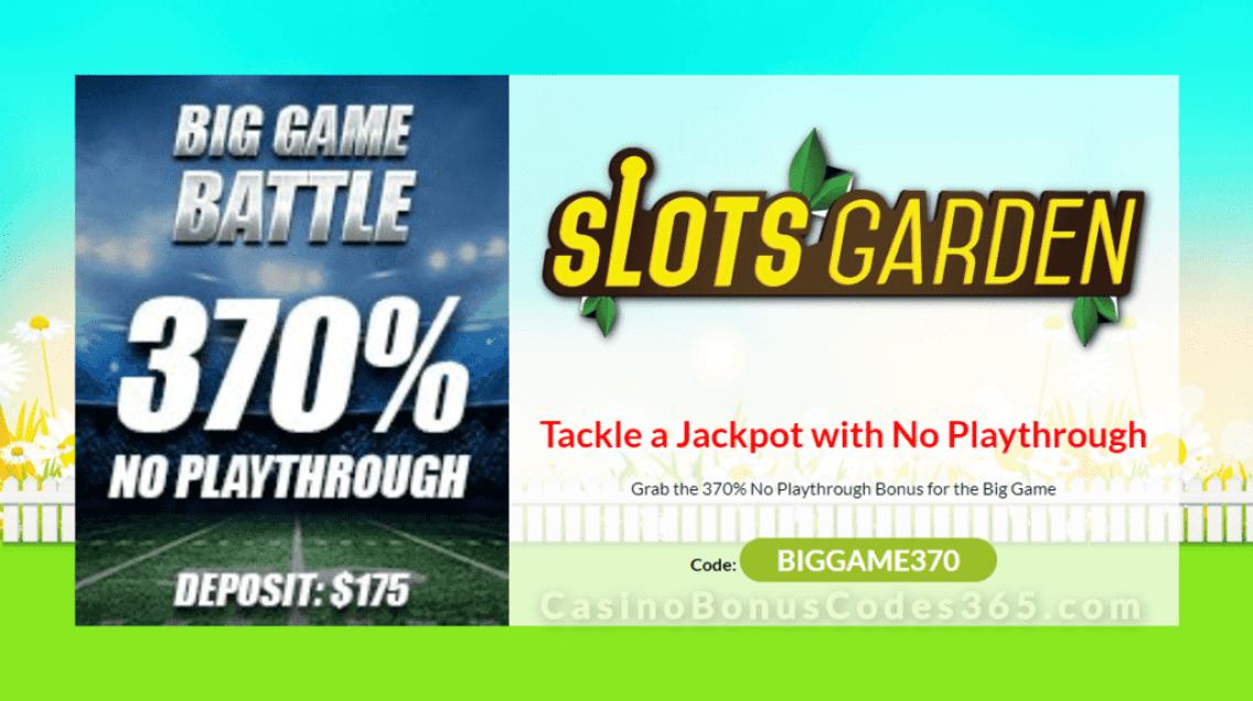 Slots Garden 370% Big Game Battle No Playthrough Bonus