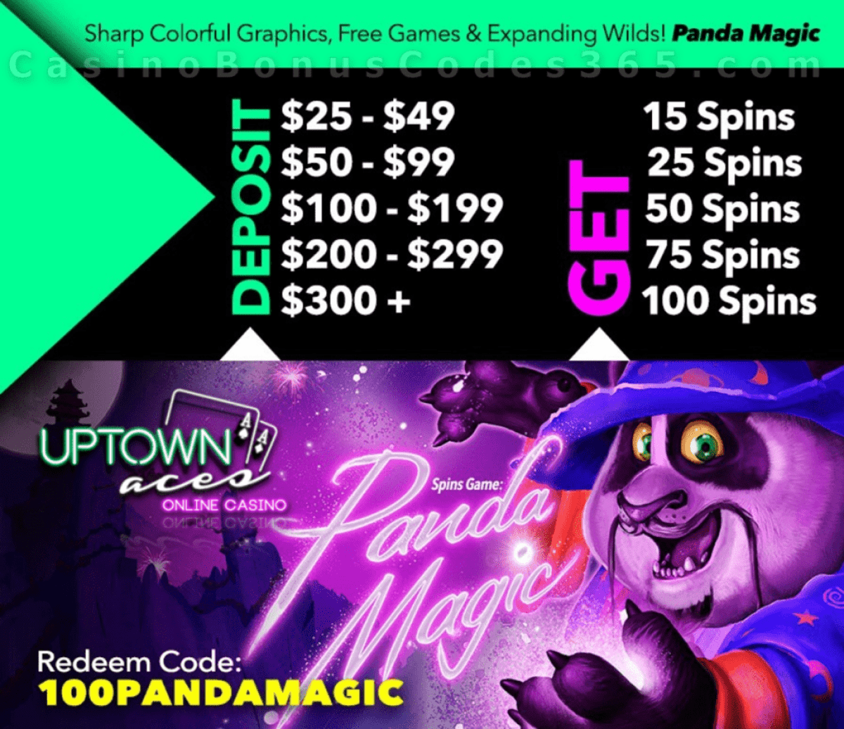 Uptown Aces Daily 100 FREE Spins on RTG Panda Magic Promo