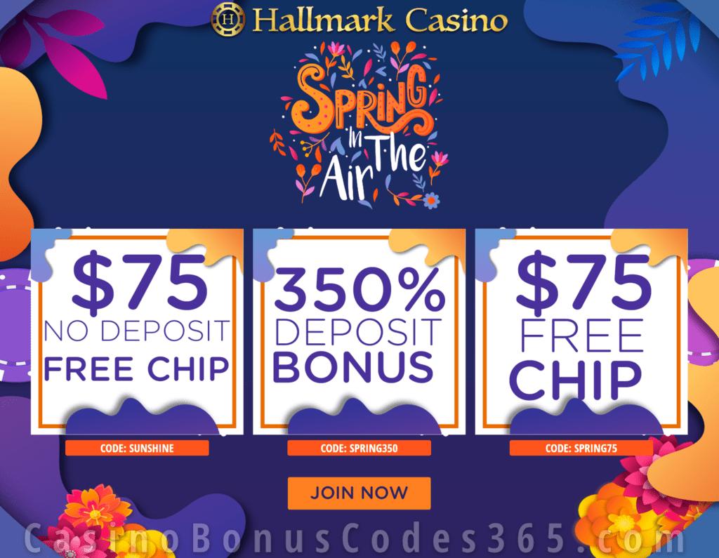 Hallmark Casino Spring In The Air 150 Free Chip And 350 Match Bonus Special Offer Casino Bonus Codes 365