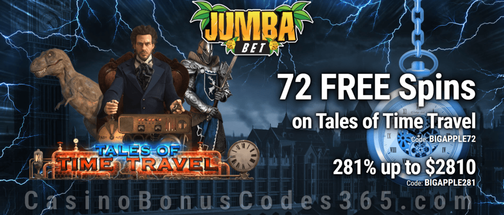 Jumba Bet 72 Free Tales Of Time Travel Spins Plus 281 Match Bonus