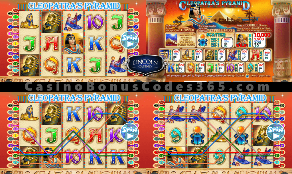 Lincoln Casino 50 FREE Spins on Cleopatra's Pyramid II Special Sign Up Offer