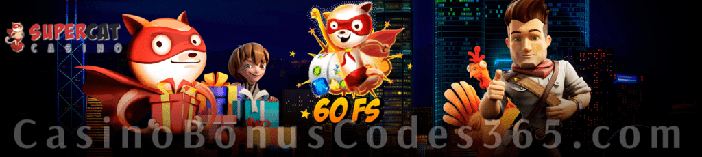 Supercat Casino 60 Welcome FREE Spins on Gonzo's Quest