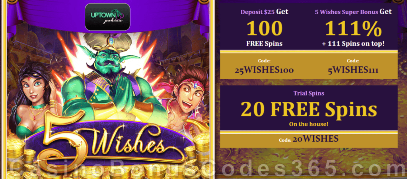 Uptown Pokies 5 Wishes New RTG Game Bonuses and FREE Spins