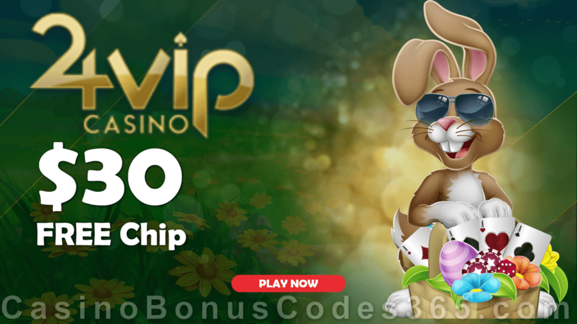 24VIP Casino $30 FREE Chips Easter Special No Deposit Deal