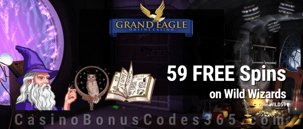 Grand Eagle Casino 59 FREE Spins on Saucify Wild Wizards Special No Deposit Deal