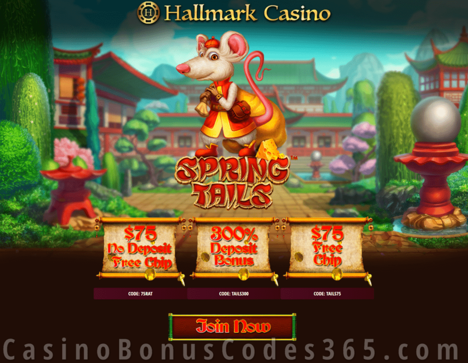 Hallmark Casino Spring Tails $150 FREE Chip plus 300% Match Bonus Special Deal