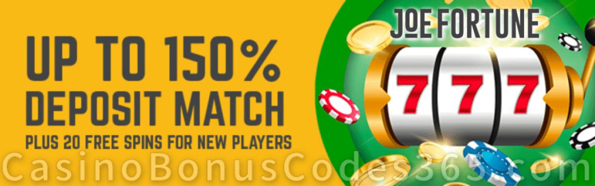 Joe Fortune 150% Bitcoin Bonus plus 20 FREE Spins on top!