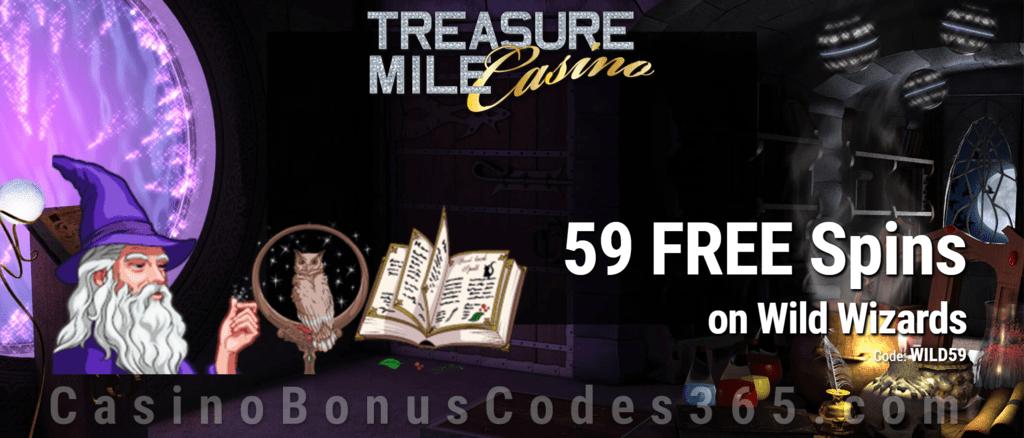 Treasure Mile Casino 59 FREE Saucify Wild Wizards Spins No Deposit Promo