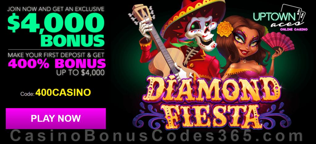 Uptown Aces Diamond Fiesta New Game 400% Welcome Bonus