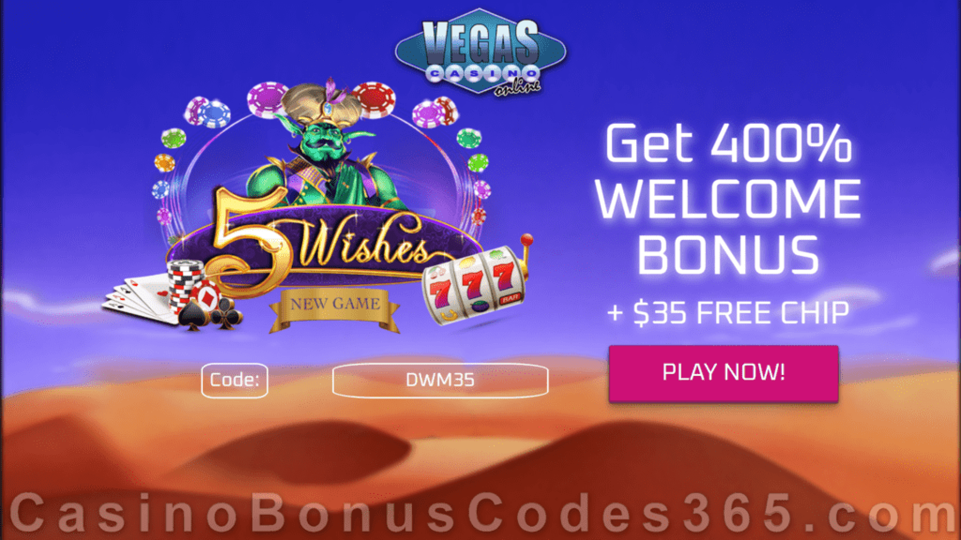 Vegas Casino Online $35 FREE Chip Special Sign Up Offer RTG 5 Wishes