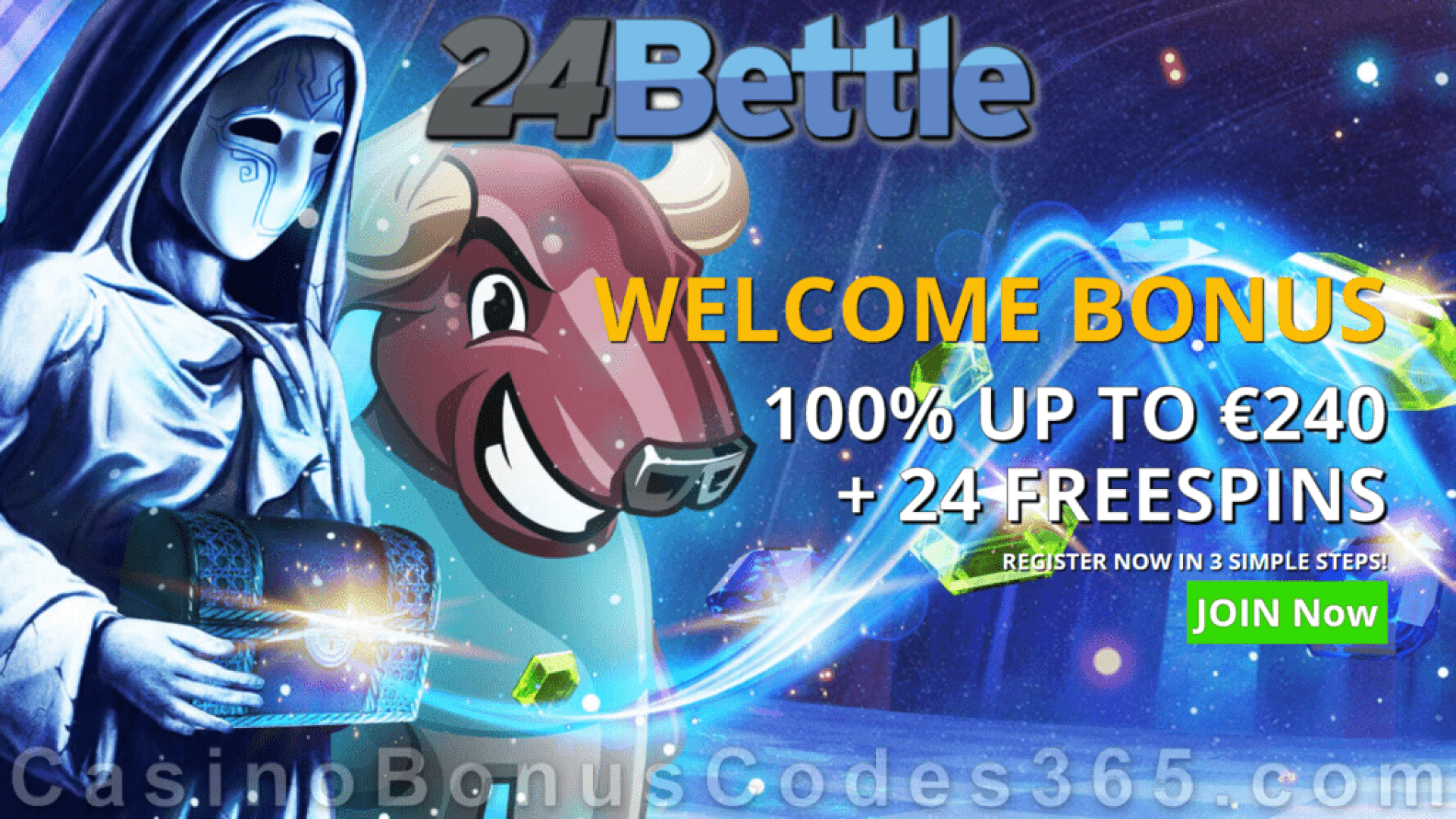 24Bettle 100% Match plus 24 FREE Spins Welcome Bonus