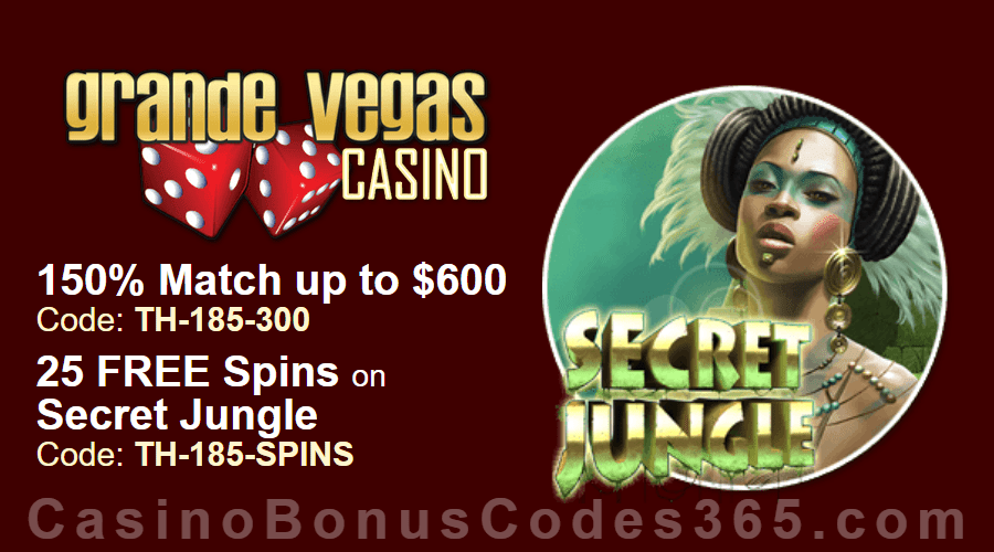 Grande Vegas Casino 150% up to $600 Bonus plus 25 FREE Spins on RTG Secret Jungle Special Offer