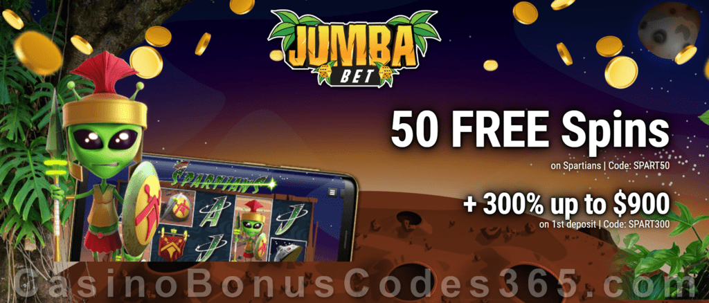 Jumba Bet 50 No Deposit Free Spins On Spartians Plus 300 Match First Deposit Bonus Special Welcome Offer Casino Bonus Codes 365