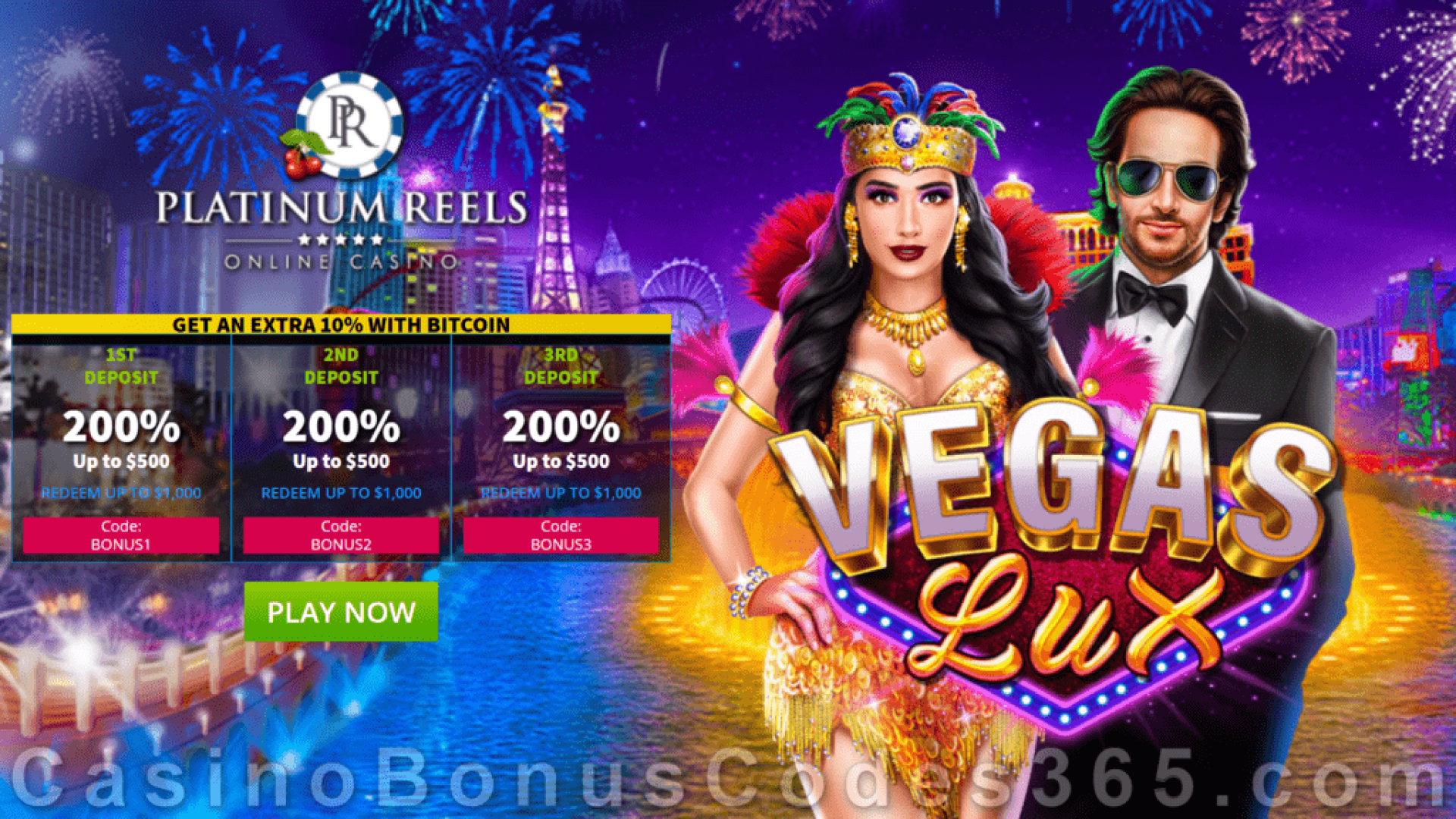 Platinum Reels $3000 New RTG Game Vegas Lux Welcome Bonus