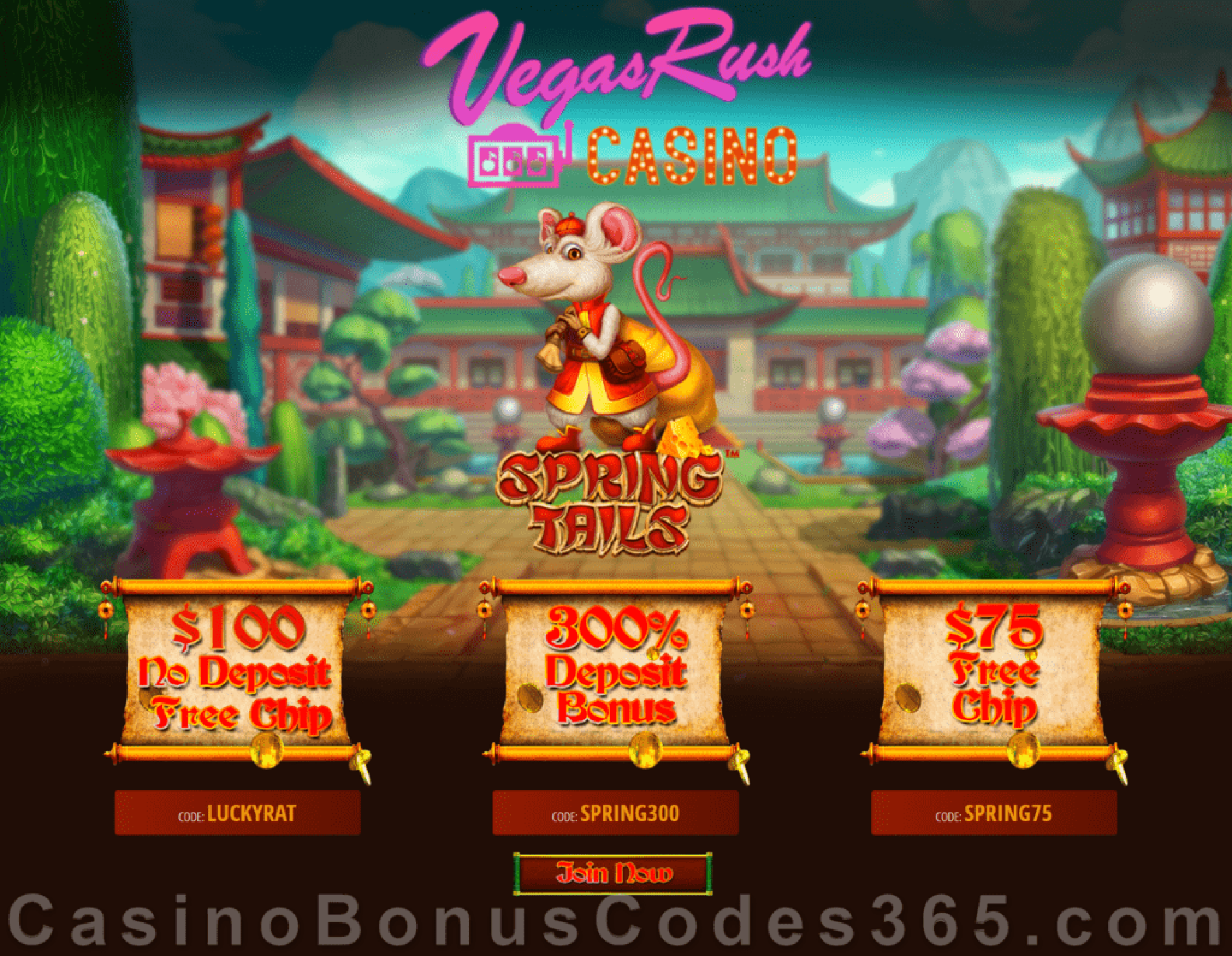 Vegas Rush Casino $175 FREE Chip plus 300% Match Bonus Spring Tails Special May Special Offer Betsoft Spring Tails