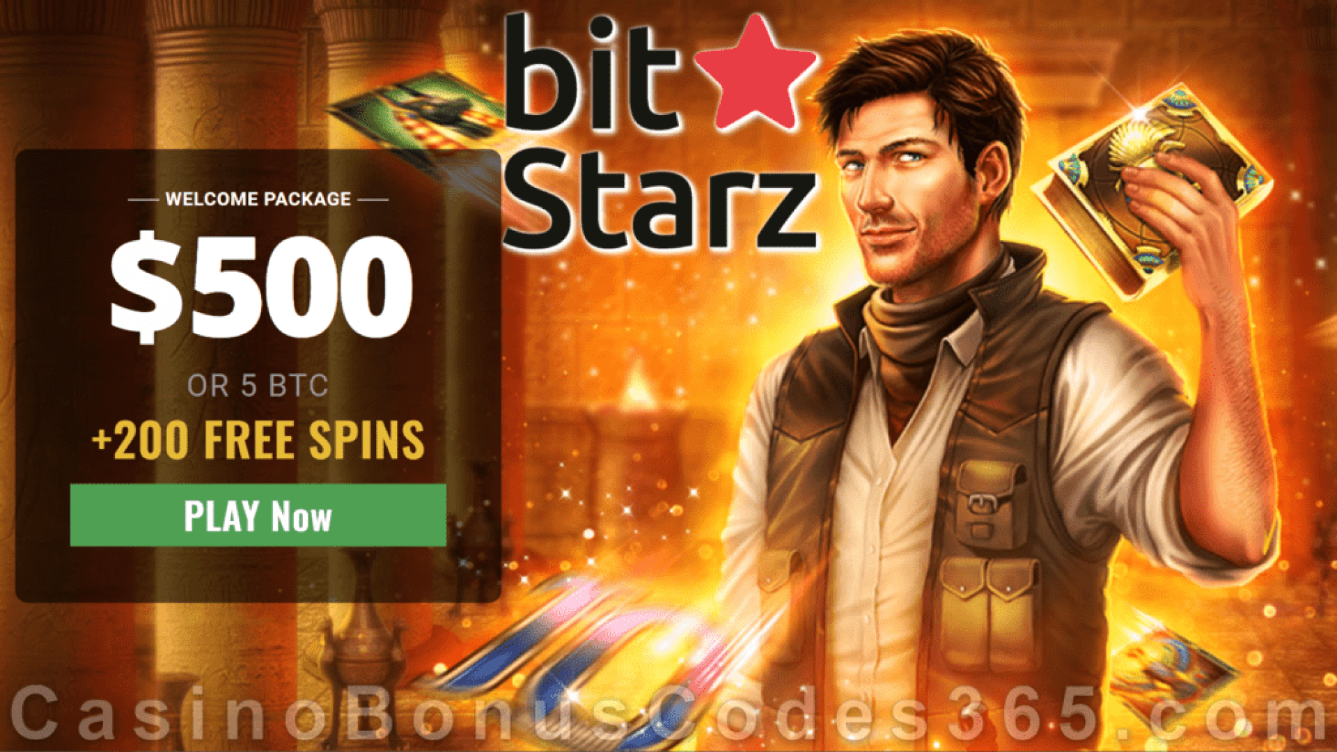 Bitstarz Casino $500 Bonus plus 200 FREE Spins Welcome Offer Play N Go Book of Dead