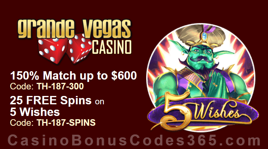 Grande Vegas Casino 150% up to $600 Bonus plus 25 FREE RTG 5 Wishes Spins Special Weekly Offer