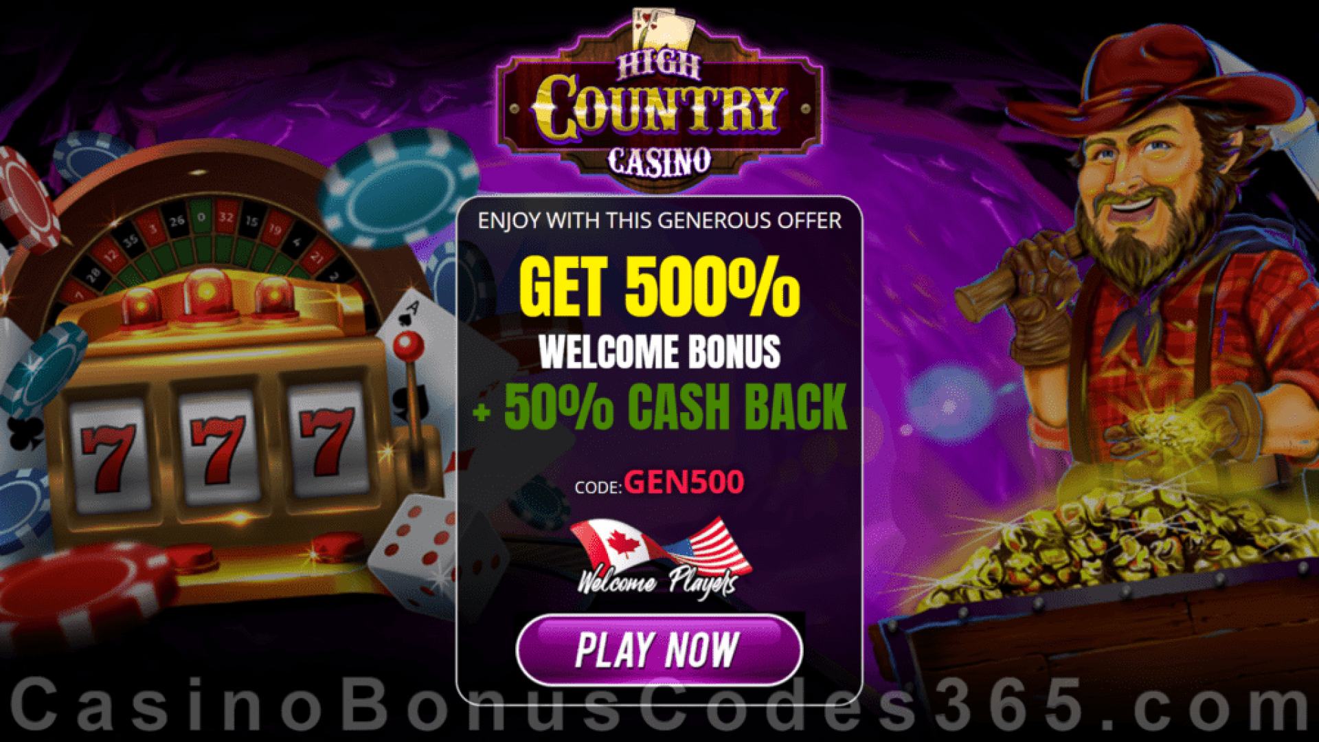 High Country Casino 500% Match Bonus plus 50% Cashback Welcome Package