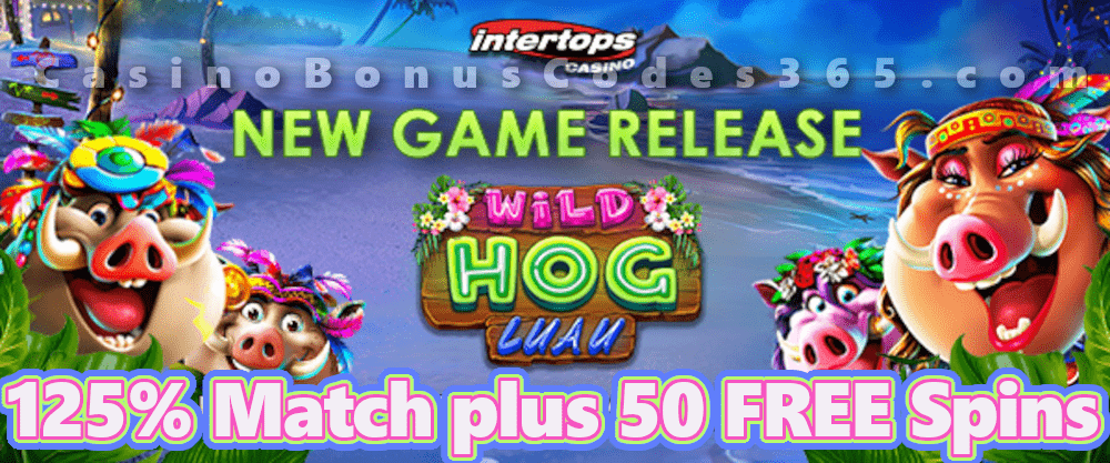Intertops Casino Red 125% Bonus plus 50 FREE Spins on Wild Hog Luau New RTG Game Special Deal