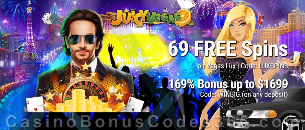 Juicy Vegas 69 FREE RTG Vegas Lux Spins plus 169% Match Bonus Special Welcome Offer