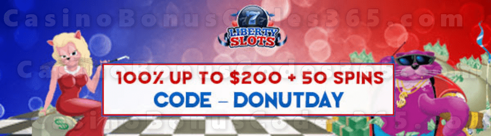 Liberty Slots 100% Match Bonus up to $200 Bonus plus 50 FREE Spins on WGS Fat Cat Special Sign Up Offer