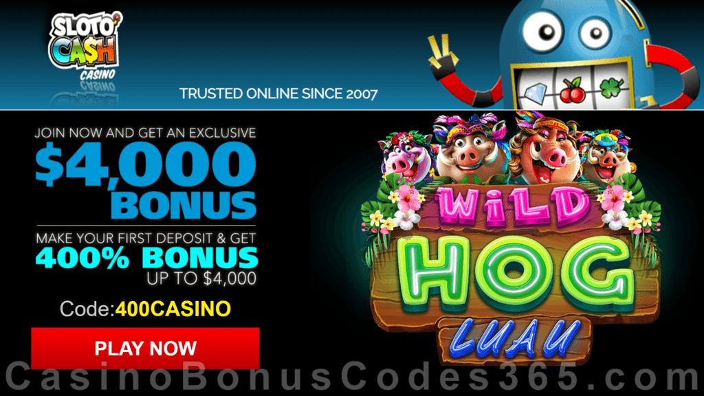 SlotoCash Casino RTG Wild Hog Luau 400% Welcome Bonus