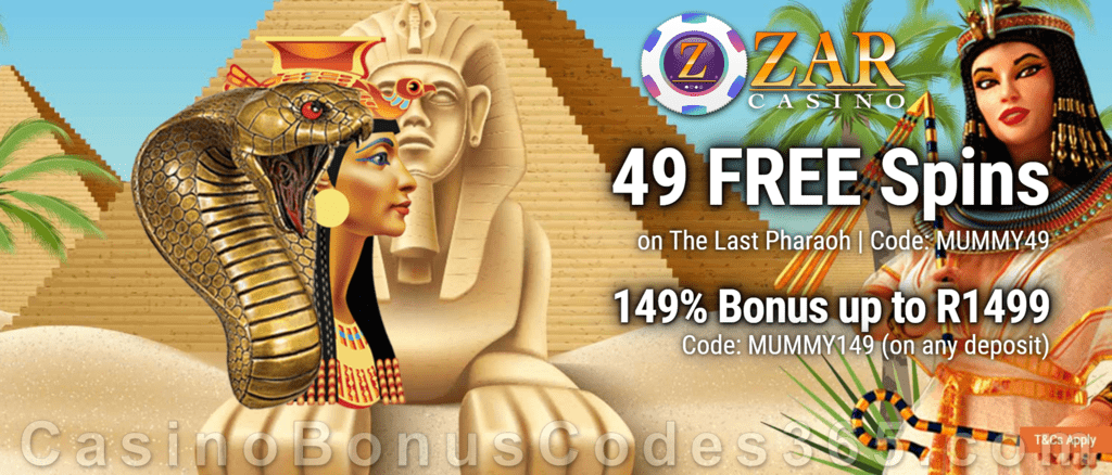 ZAR Casino 49 FREE Spins on Saucify The Last Pharaoh plus 149% Match Sign Up Bonus