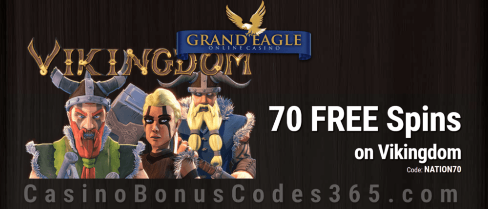 Grand Eagle Casino Exclusive 70 FREE Spins on Saucify Vikingdom Special Deal