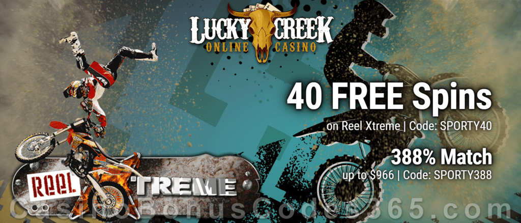 Lucky Creek 40 FREE Saucify Reel Xtreme Spins plus 388% Match Exclusive Welcome Package