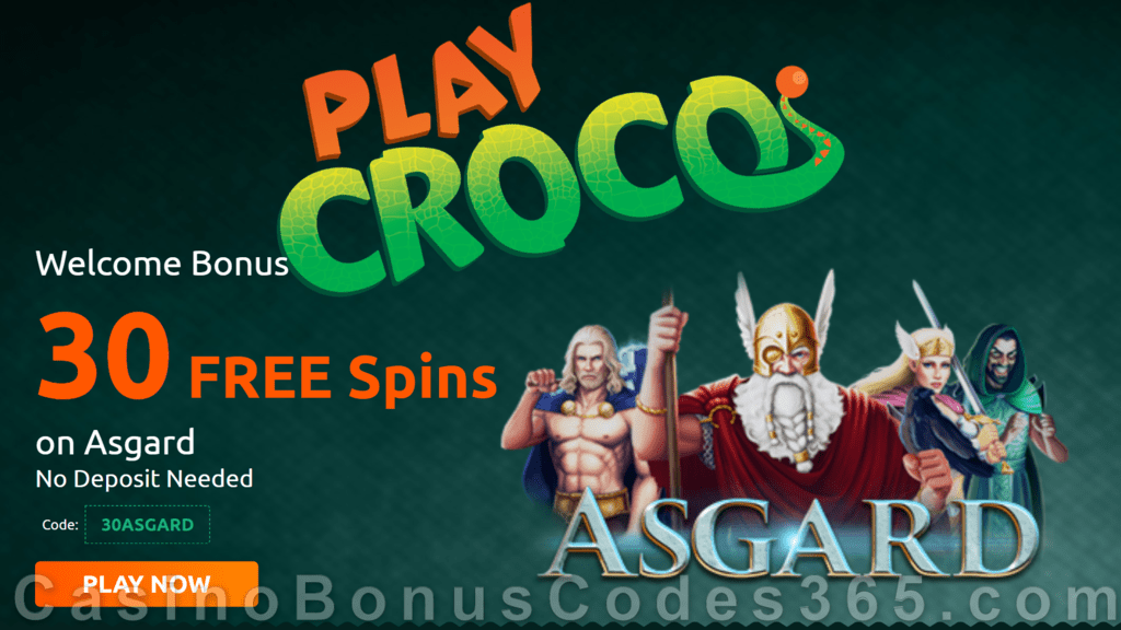 Playcroco 30 Free Asgard Spins No Deposit Special Offer Casino