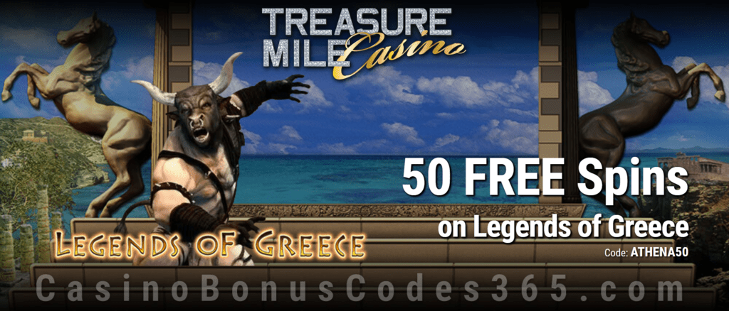 Treasure Mile Casino 50 FREE Saucify Legends of Greece Spins Special No Deposit Deal